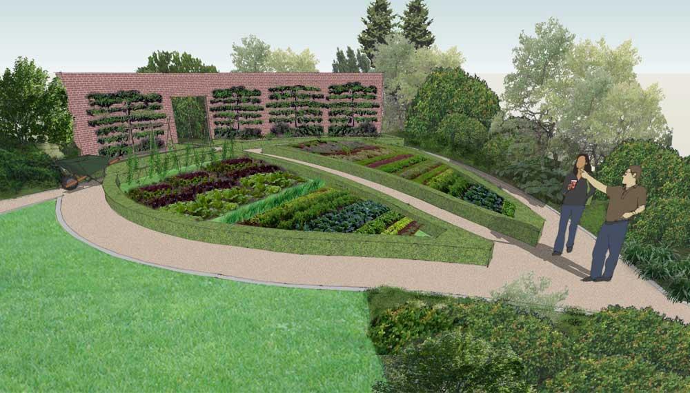 afbeelding van een groente- en fruittuin in een tulp vorm