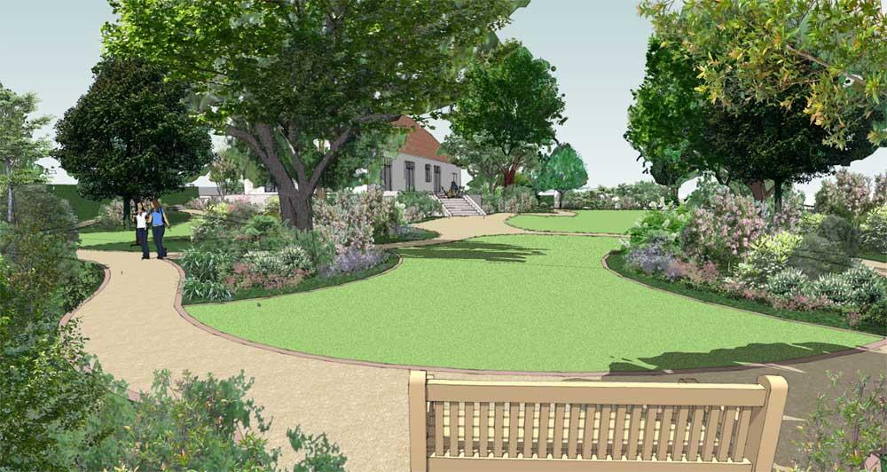 impressie van ee parkachtige tuin met boom en heestergroepen zodat het gazon in de luwte ligt
