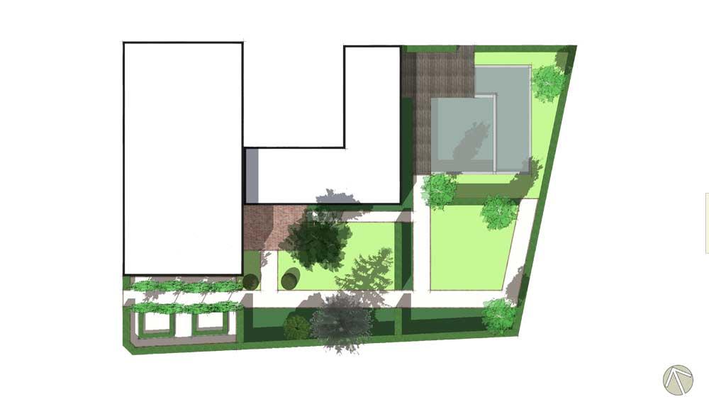 plattegrond van een grote tuin met een strakke indeling en losse beplanting