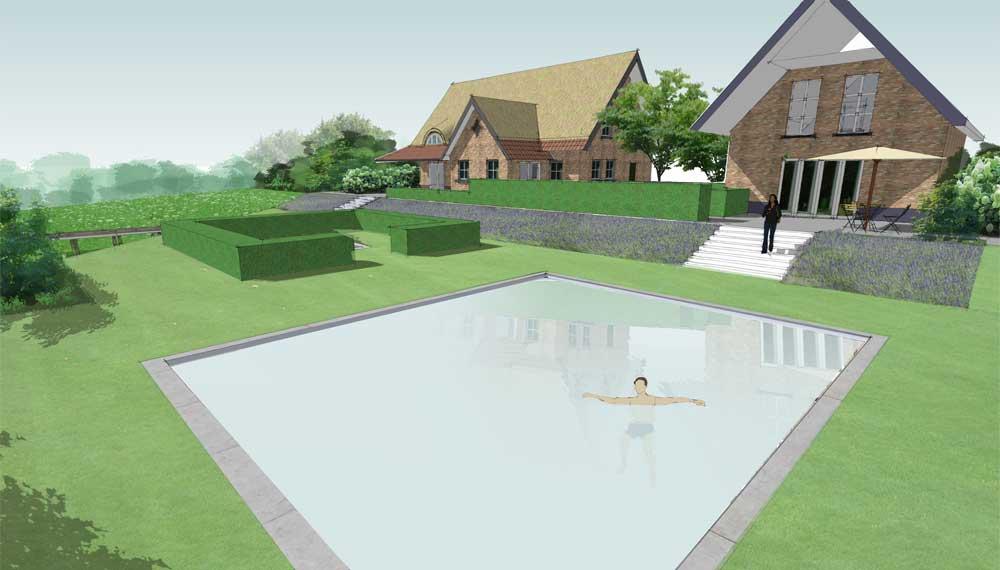 uitzicht op zwembad met riertgekapt huis op de achtergrond