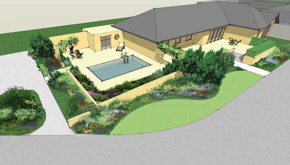 vogelperspectief van grote tuin met swimming pool