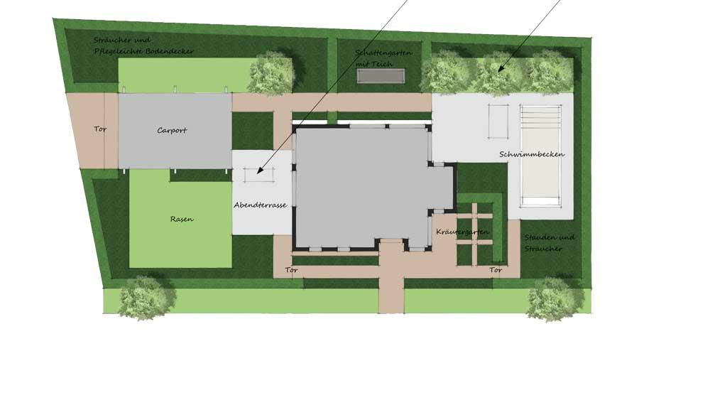 plattegrond van grote tuin met zwembad en carport
