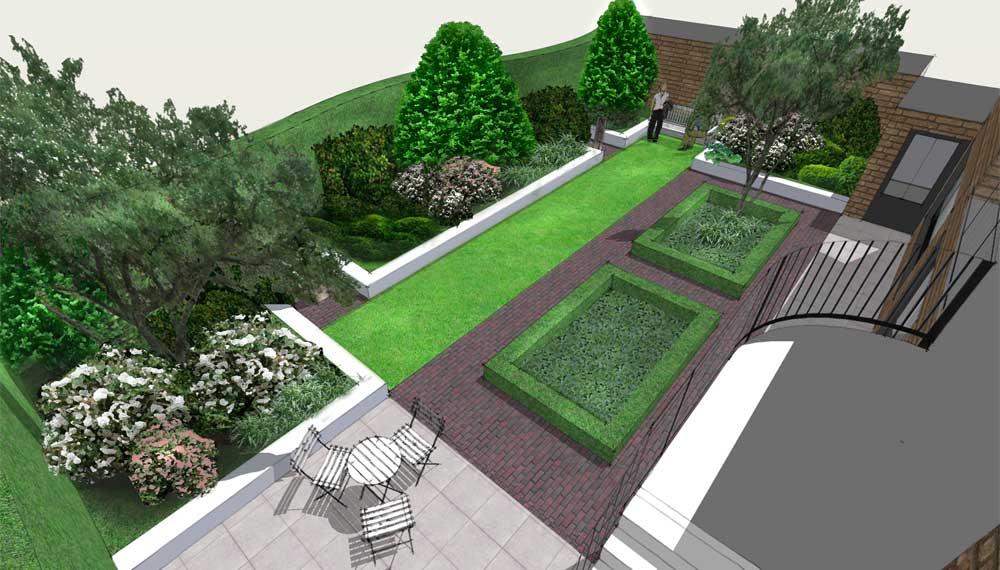 zicht vanaf balkon op kleine tuin