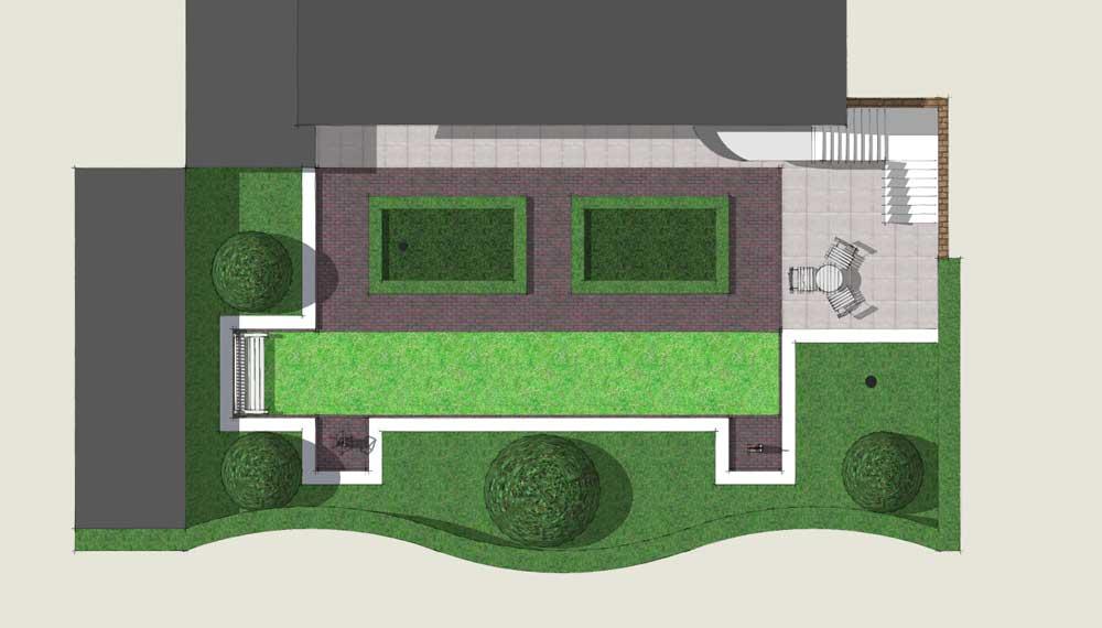 plattegrond van kleine tuin met plantvakken die door buxus zijn omlijst