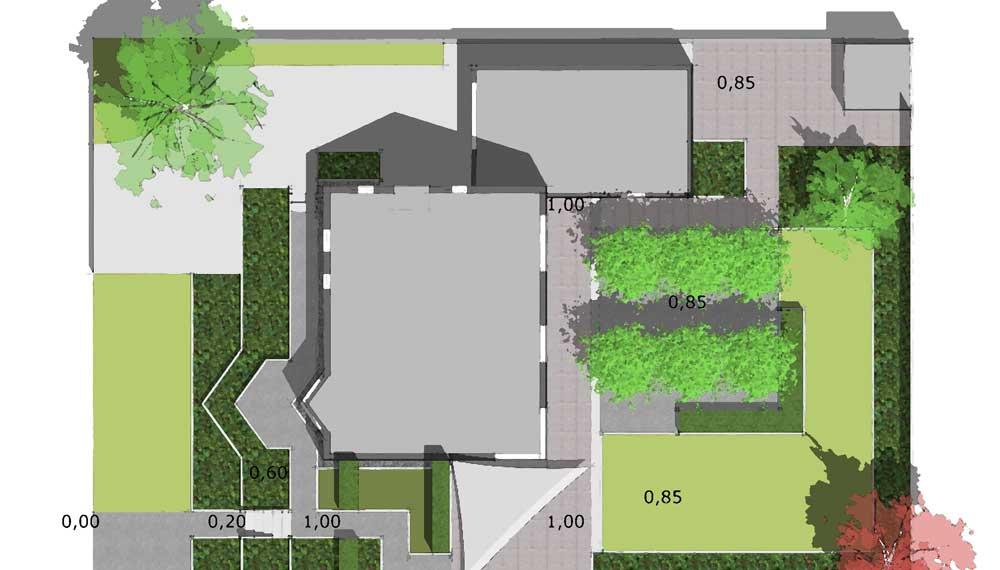 plattegrond van tuin met dakplatanen