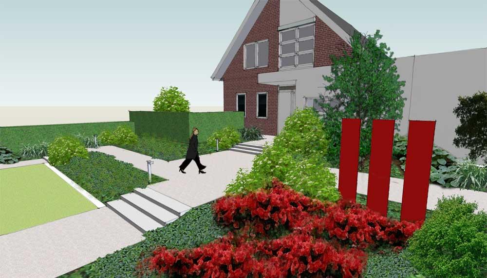 brede trappen in tuin leiden naar voordeur