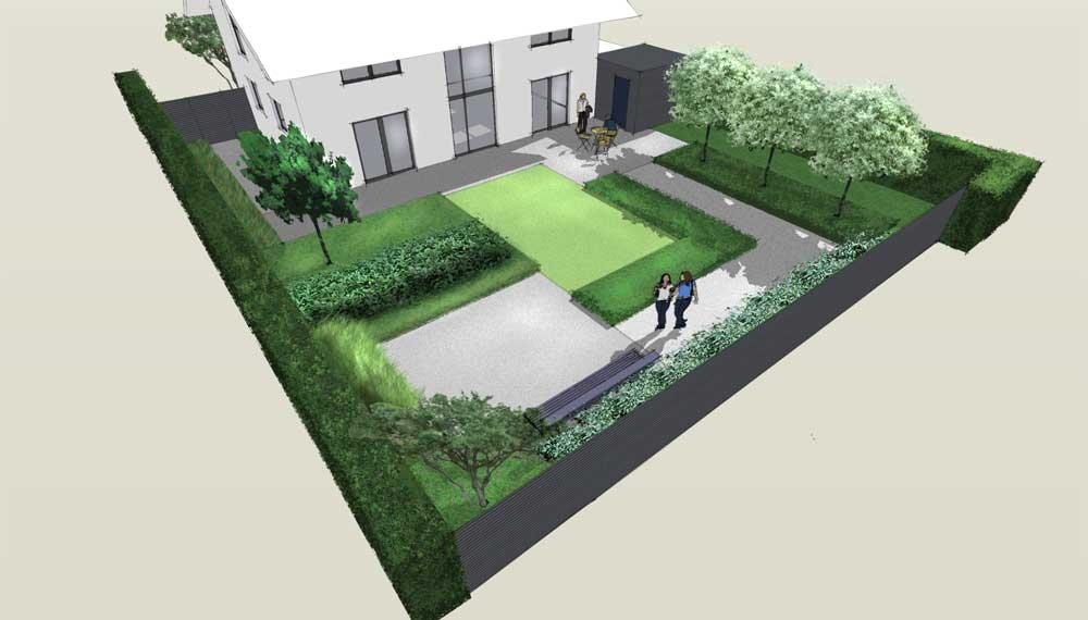 vogelperspectief van minimalistische tuin