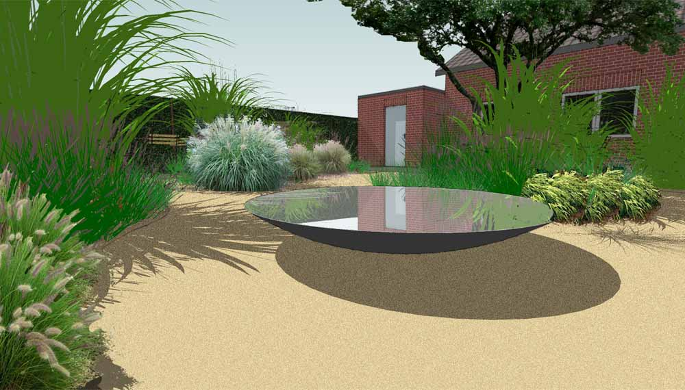 waterschaal in kleine tuin met siergrassen