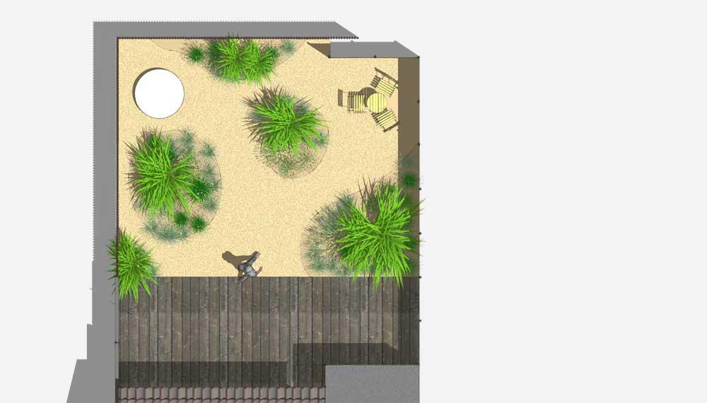 plattegrond van kleine tuin met split en siergrassen
