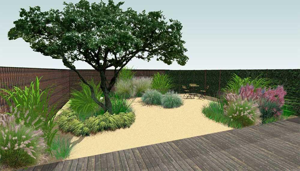 impressie van kleine tuin vanf het terras