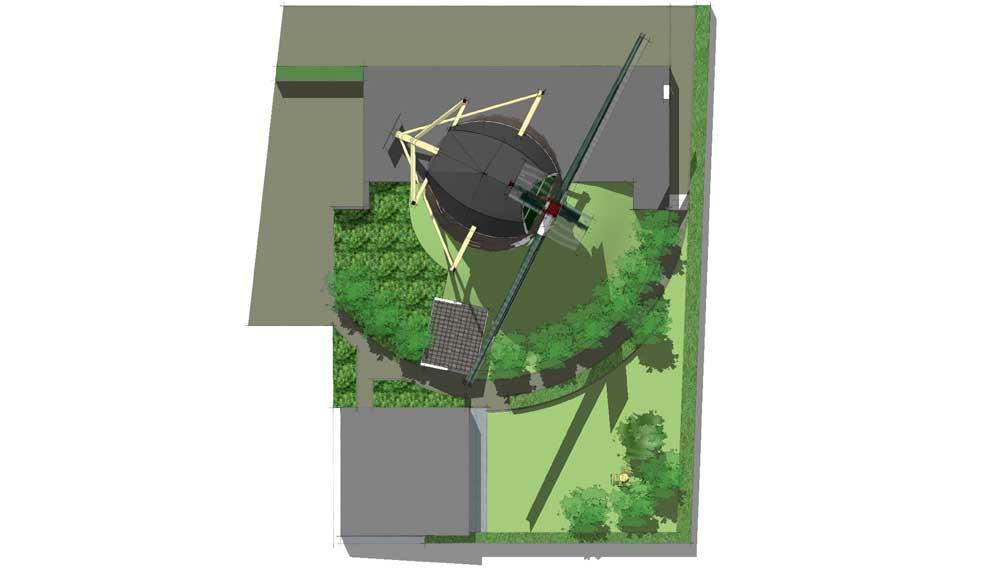 plattegrond van tuin naast windmolen