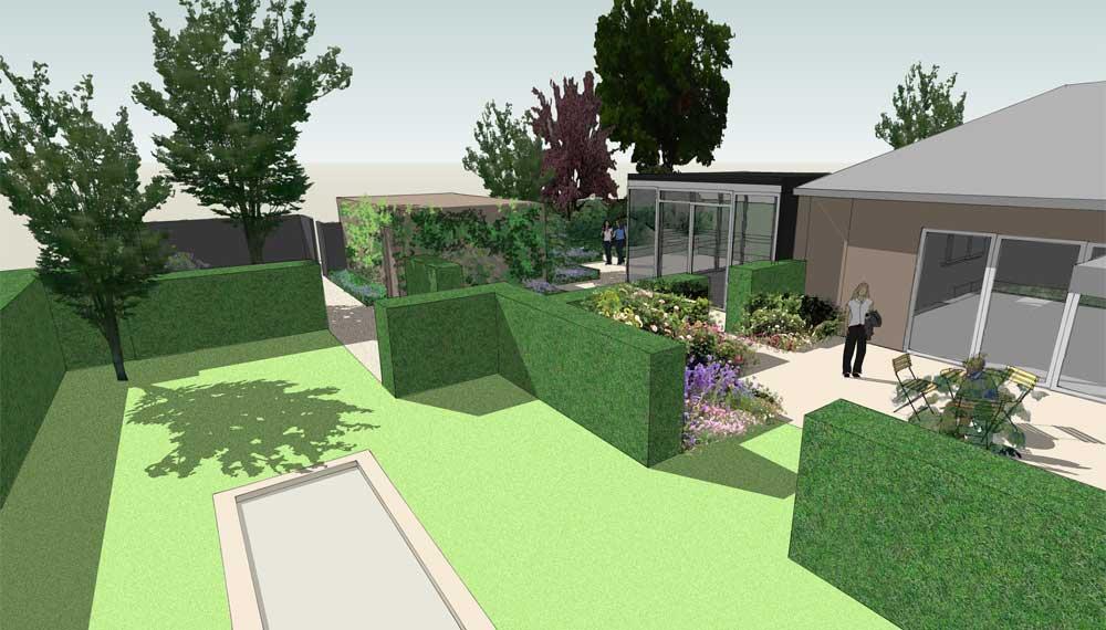 impressie kleine tuin met tuinkamers