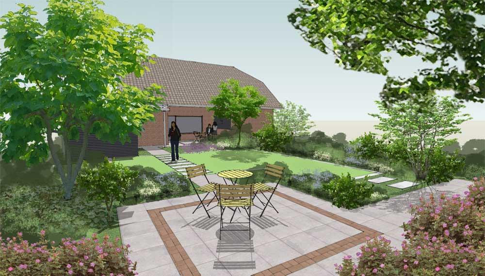 impressie van een terras met klinkerornament in kleine tuin