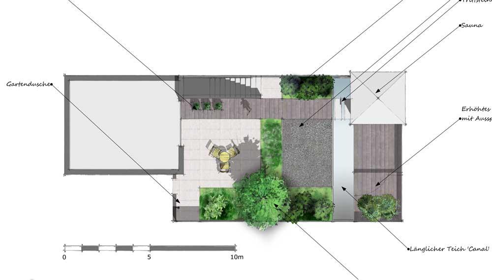 plattegrond van kleine tuin met sauna, vijver en tuindouche
