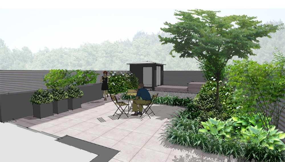 impressie van kleine tuin met sauna