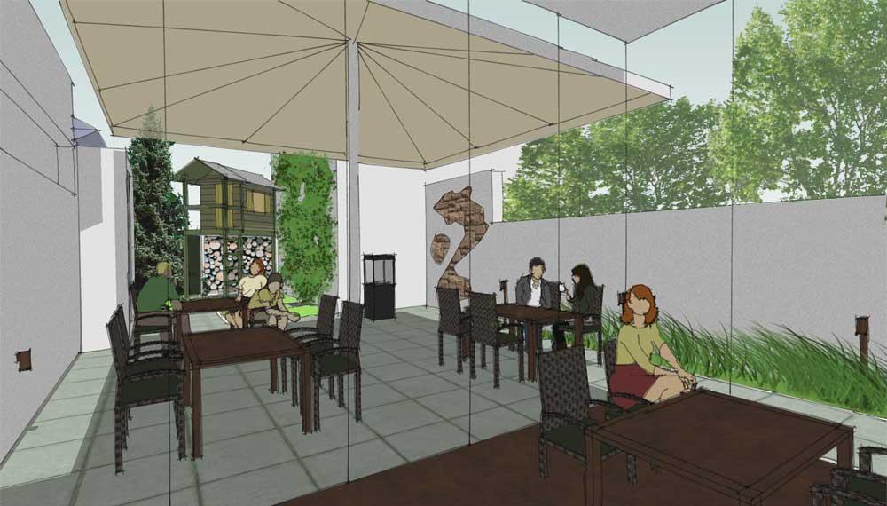 nieuwe versie restauranttuin met wintertuin en speelhuis