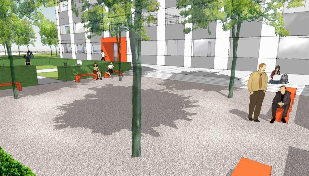 impressie van open ruimte met bomen voor kantoorgebouw