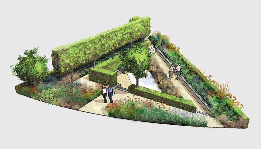 impressie van triangulars tuin
