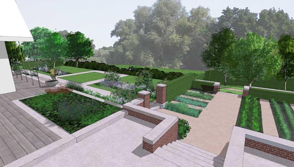 impressie van een terras op een landgoed in een bosrijke omgeving