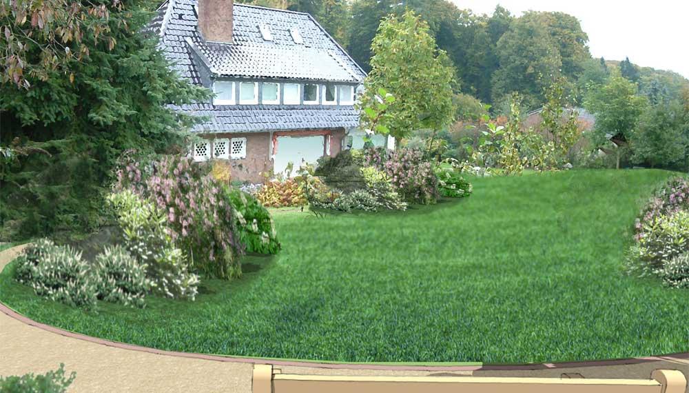 Impressie van een parktuin vanaf een zitbank op een heuvel