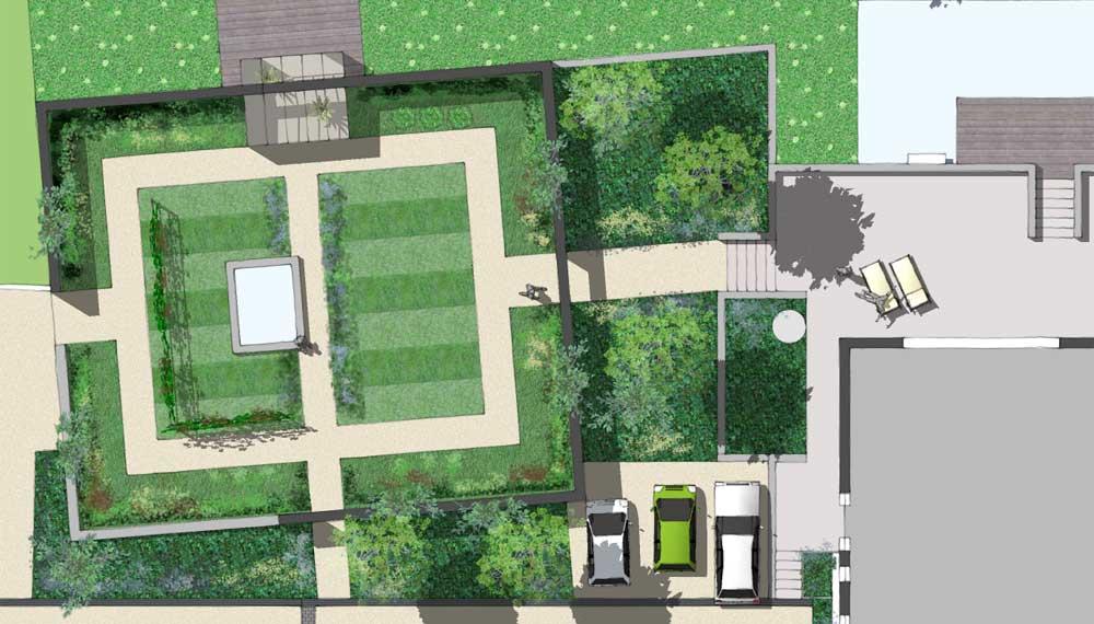 plattegrond van een ommuurde groente- en fruit tuin