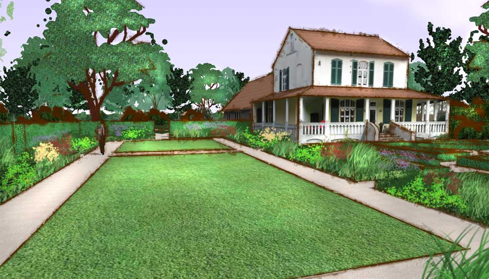impressie van nieuwe tuin naast de historische tuin