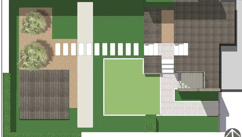 plattegrond van tuin met smalle vijver (canal)
