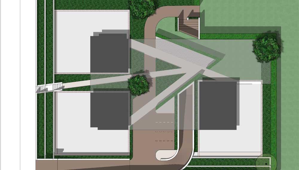 plattegrond van minimalistische tuin tussen woonblokken