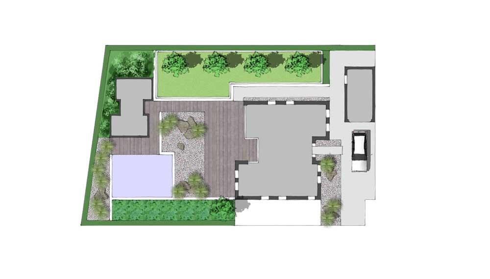 plattegrond van minimalistische tuin met ruime vijver