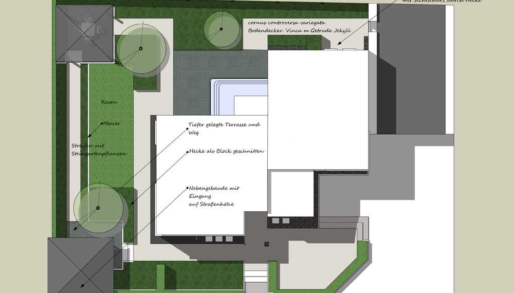 plattegrond van strakke tuin rond bijzonder huis