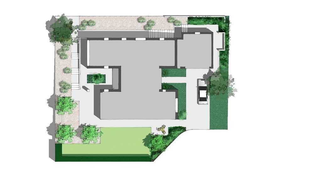 plattegrond van een onderhoudsvriendelijke tuin rond een moderne bungalow in de stuwwal van kleve