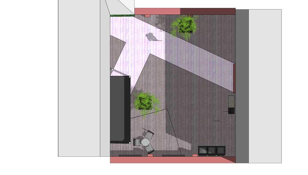 plattegrond van project patio in keulen