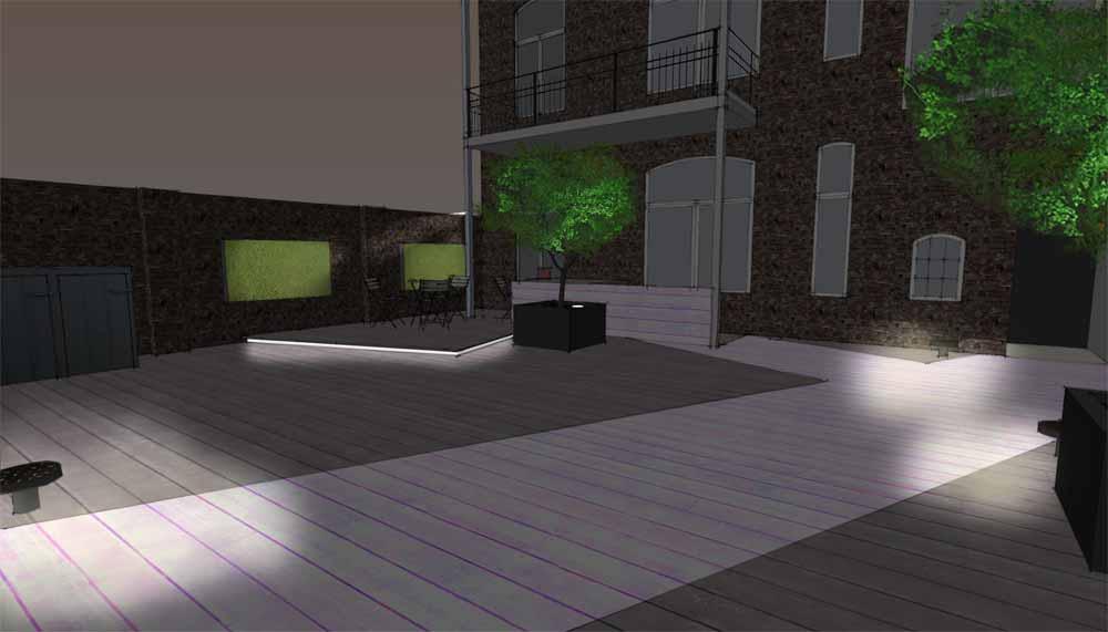 nachtimpressie van patio met terras in ingang tot de fietsenstalling