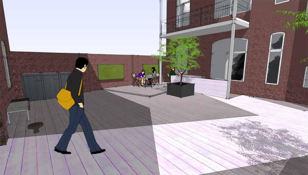 impressie van patio met terras en ingang tot de fietsenstalling