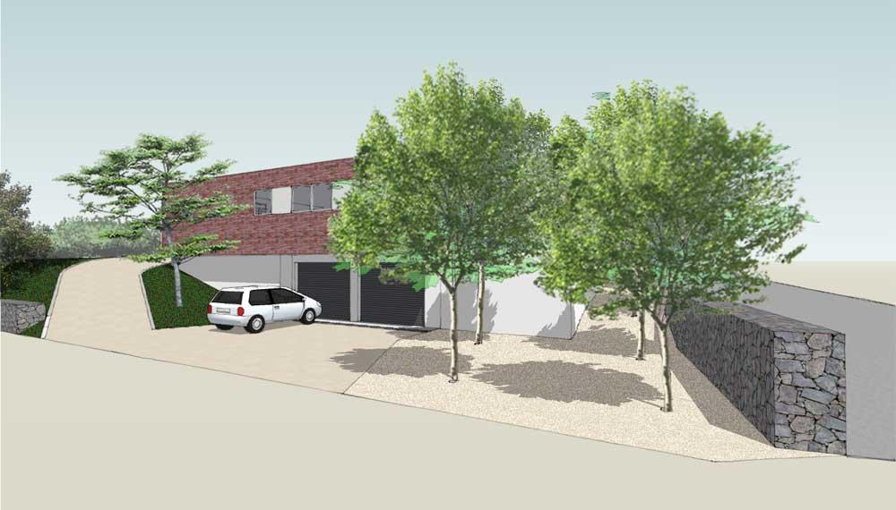 parkeerplaats voor huis met rechts een splitvlak met vier bomen
