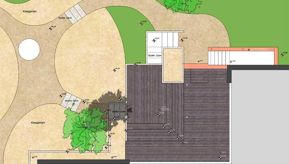 detail plattegrond van tuin met siergrassen