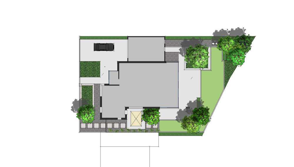 De geometrische plantvakken van deze tuin zijn afgeleid van de meest in het oogspringen vormen van het huis.