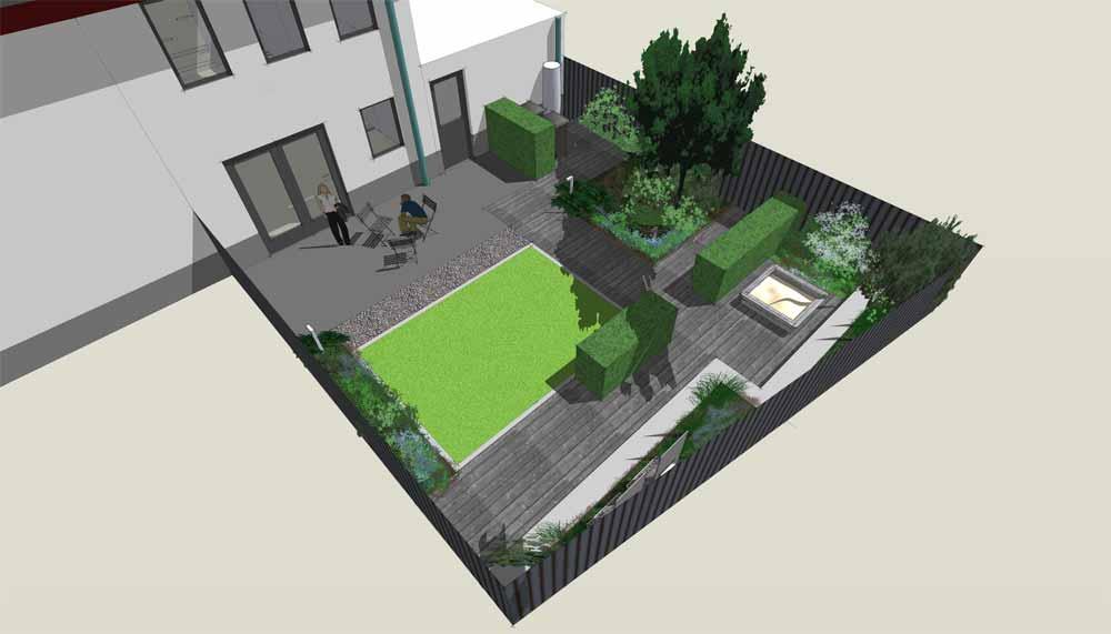 vogelperspectief van kleine moderne tuin