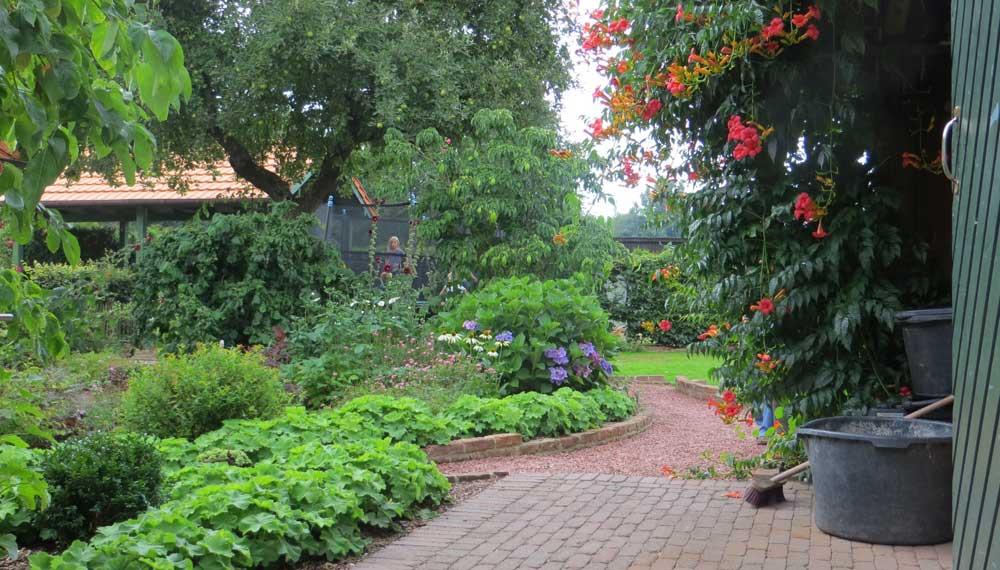 weelderige en ongedwongen beplanting in cottagetuin