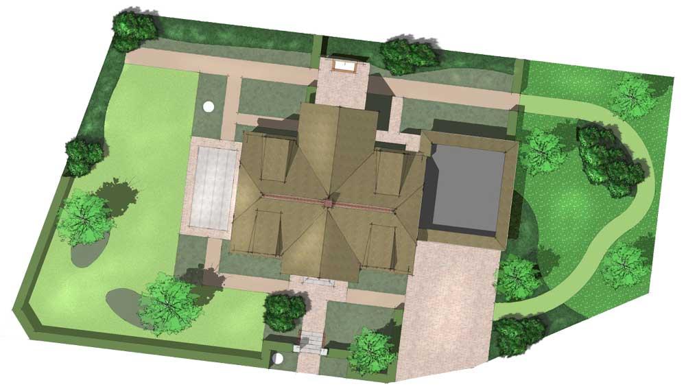 plattegrond van landhuis met ruime tuin eromheen
