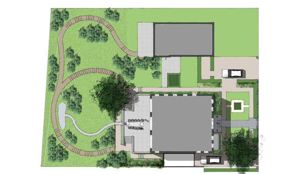 plattegrond van retrotuin bij nieuwgebouwde villa